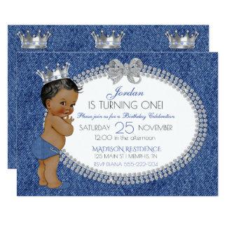 小さい王子アフリカ系アメリカ人のデニム及びダイヤモンド カード