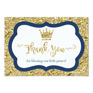 小さい王子サンキューカード、青、模造のなグリッター カード