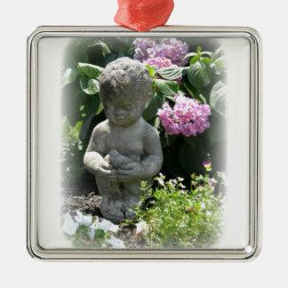 小さい男の子および鳥の庭の彫像 メタルオーナメント