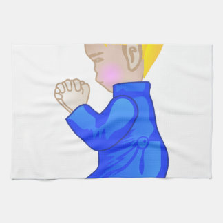 小さい男の子の祈ること キッチンタオル