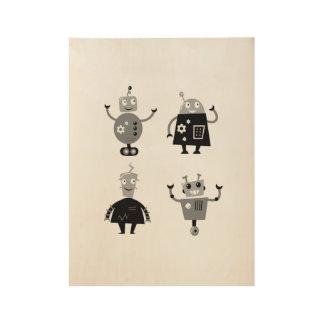 小さい男の子部屋のインテリア・デザイン: ロボット! ウッドポスター
