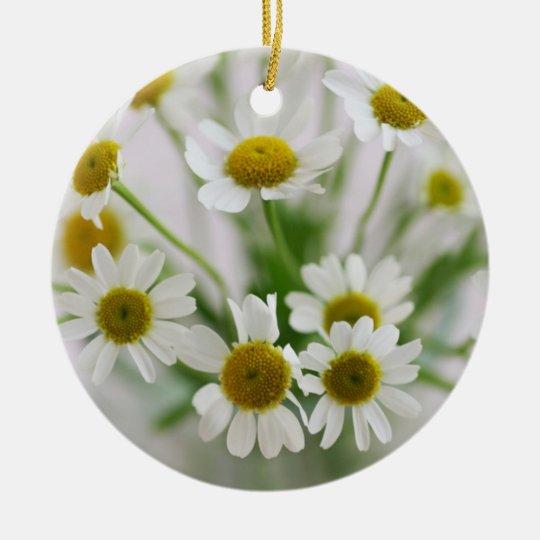小さい白い花のオーナメント セラミックオーナメント