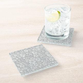 小さい白い花 ガラスコースター