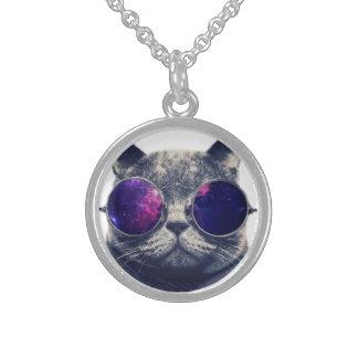小さい純銀製の円形のネックレス スターリングシルバーネックレス