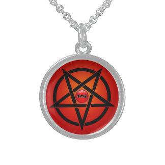 小さい純銀製の円形のネックレス、SATAN スターリングシルバーネックレス
