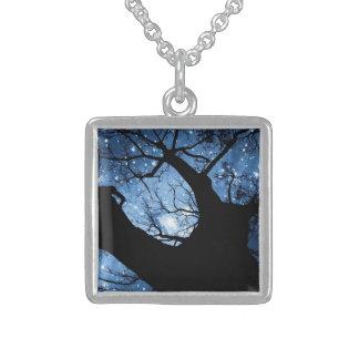 小さい純銀製の正方形のネックレス スターリングシルバーネックレス