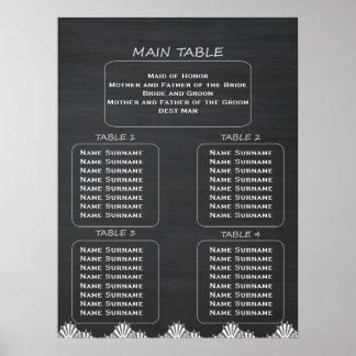小さい結婚式の素朴な黒板の座席の図表 ポスター