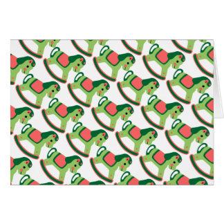 小さい緑の揺り木馬 カード
