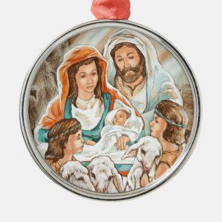 小さい羊飼いの男の子との出生の絵画 メタルオーナメント