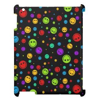 小さい虹のスマイリーの水玉模様 iPad カバー