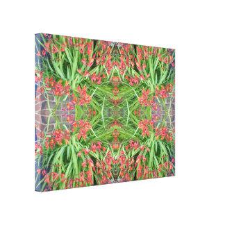 小さい赤いユリ1の花のフラクタルのキャンバス キャンバスプリント