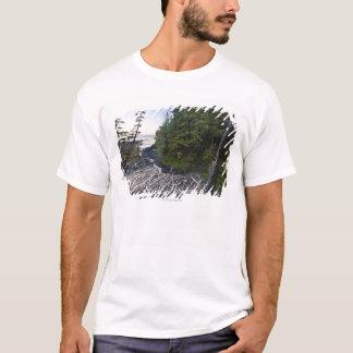 小さい隠遁したビーチで積まれる流木 Tシャツ