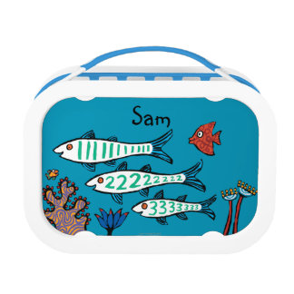 小さい魚を持つ1匹、2匹、3匹の魚および珊瑚 ランチボックス