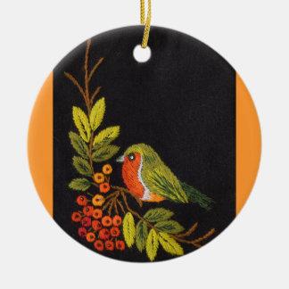 小さい鳥のオーナメント 陶器製丸型オーナメント