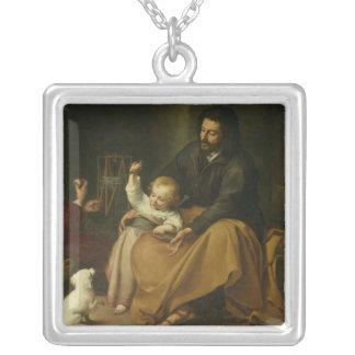 小さい鳥、c.1650を持つ神聖な家族 シルバープレートネックレス