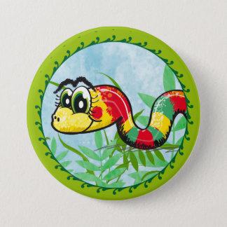 小さくかわいいヘビ-緑ボタン 缶バッジ