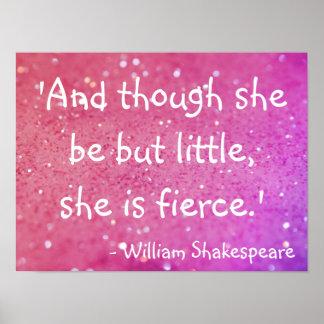 小さくしかし激しいシェークスピアの引用文のピンクポスター ポスター