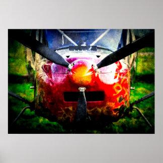 小さくしかし激しい赤い航空機- ポスター