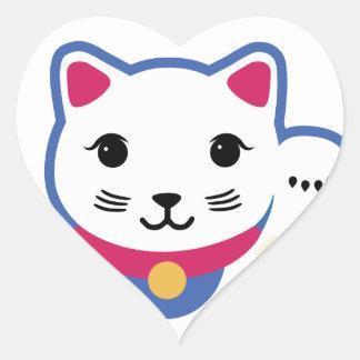 小さく幸運な猫、Maneki-nekoの招き猫 ハートシール