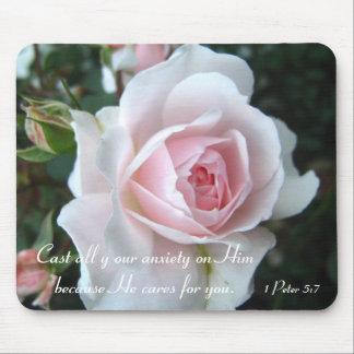 小さく敏感なピンクのバラ マウスパッド