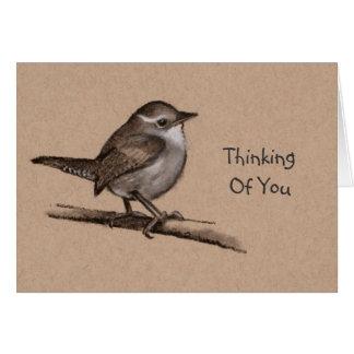 小さく柔らかい鳥、ミソサザイ: 木炭スケッチ カード