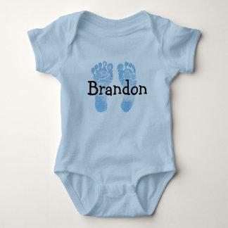 小さく生まれたばかりのな足跡の青い一つのベビー ベビーボディスーツ