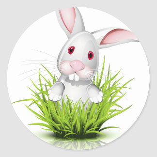 小さく白いウサギ ラウンドシール