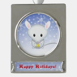 小さく白いマウスのクリスマスのオーナメント シルバープレートバナーオーナメント