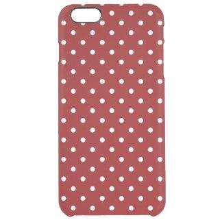 小さく白い水玉模様の赤の背景 クリア iPhone 6 PLUSケース