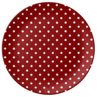 小さく白い水玉模様の赤の背景 磁器プレート