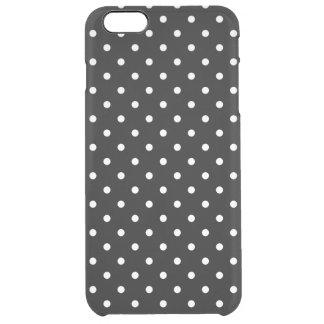 小さく白い水玉模様の黒い背景 クリア iPhone 6 PLUSケース