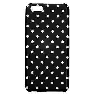 小さく白い水玉模様の黒い背景 iPhone5Cカバー
