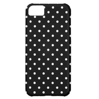 小さく白い水玉模様の黒い背景 iPhone5Cケース