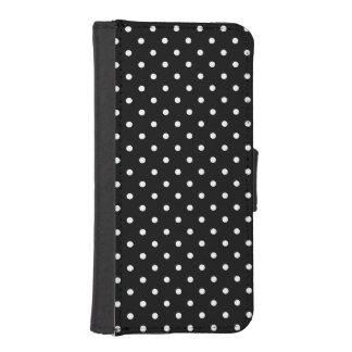 小さく白い水玉模様の黒い背景 iPhoneSE/5/5sウォレットケース