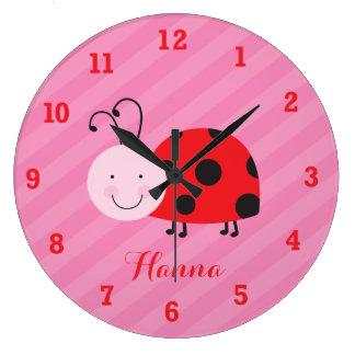小さく赤いてんとう虫の名前入りな柱時計 ラージ壁時計