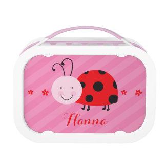 小さく赤いてんとう虫の女の子のための名前入りなお弁当箱 ランチボックス