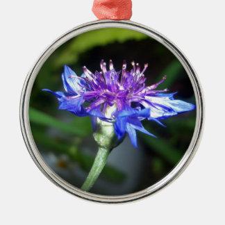 小さく青およびすみれ色の花 メタルオーナメント