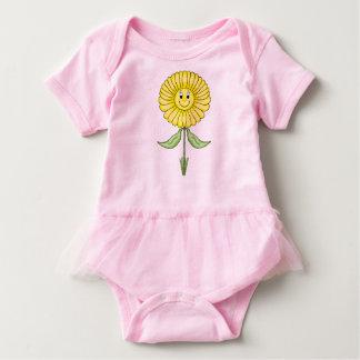 小さく黄色いペチュニアの女の赤ちゃんのチュチュの体のスーツ ベビーボディスーツ