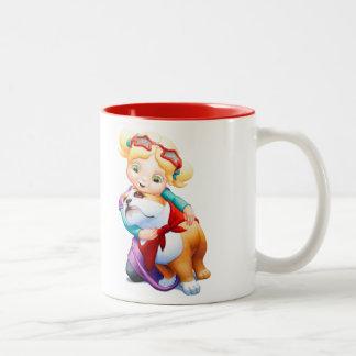 小さな女の子およびブルドッグの名前入りなマグ ツートーンマグカップ