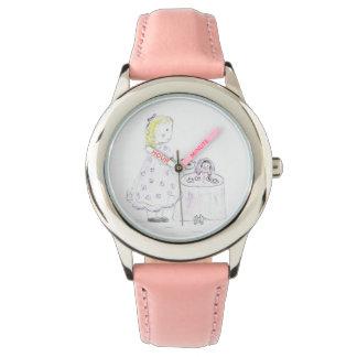 小さな女の子および人形のお茶会 腕時計