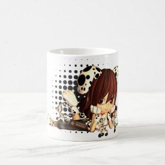 小さな女の子および子ネコが付いているかわいいマグ コーヒーマグカップ