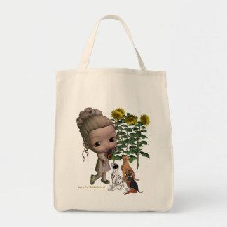 小さな女の子および子犬のトートバック トートバッグ