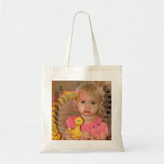 小さな女の子および彼女の鳥の小さいトートバック トートバッグ