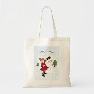 小さな女の子が付いている雪だるまのバッグ トートバッグ