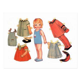 小さな女の子のペーパー人形の郵便はがき ポストカード