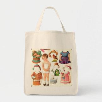 小さな女の子のペーパー人形の食料雑貨のトート トートバッグ