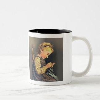 小さな女の子の編み物 ツートーンマグカップ