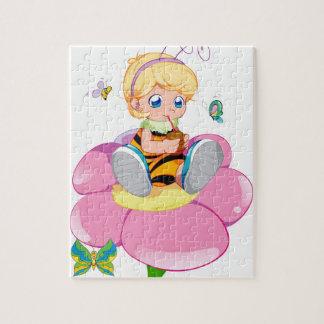 小さな女の子の蜂のパズル ジグソーパズル