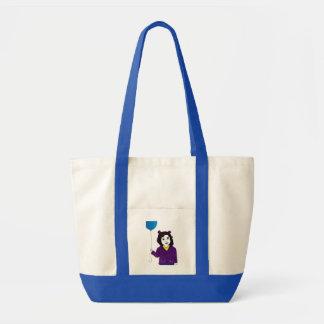 小さな女の子の青い気球のバッグ トートバッグ
