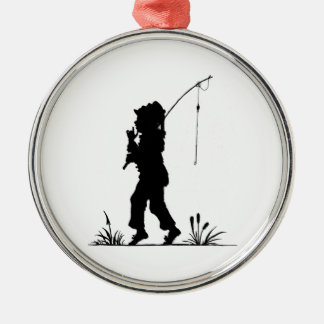小さな女の子の魚釣りのシルエット メタルオーナメント